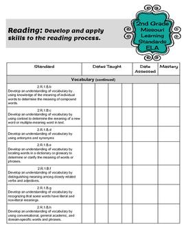 Teacher Data Tracking & Checklist ELA Missouri Learning Standards 2nd Grade