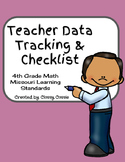 Teacher Data Tracking & Checklist Math Missouri Learning Standards 4th Grade