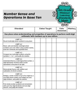 Teacher Data Tracking & Checklist Math Missouri Learning Standards 4th Grade