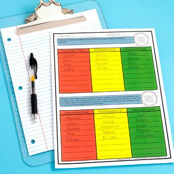 teacher data tracking and grade book 5th grade ela math editable
