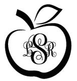 Teacher Decal: Apple (triple monogram)