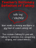 Teacher Dictionary Definition of Talking Poster