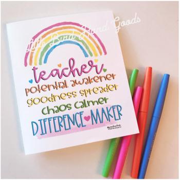 Teacher Difference Maker Rainbow Print & Card Template