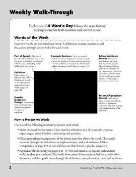Teacher Directions (A Word a Day)