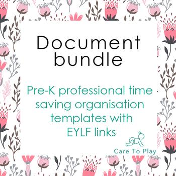 Doc: Pre-K professional time saving organisation templates, E.Y.L.F. links