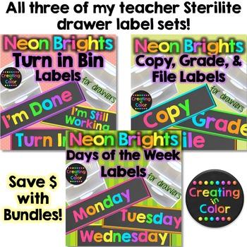 Teacher Drawer Labels BUNDLE - Neon Brights Chalkboard