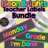 Teacher Drawer Labels BUNDLE - Neon Brights Chalkboard