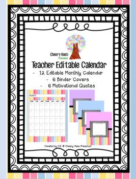 Teacher Editable Calendar