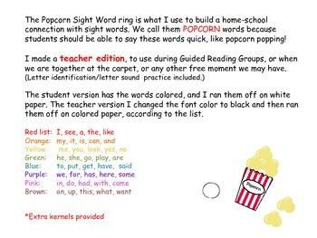 Teacher Edition: Popcorn Sight words on a Ring