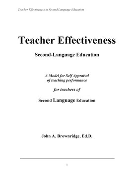 Teacher Effectiveness: Second Language Education