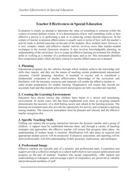 Teacher Effectiveness: Special Education
