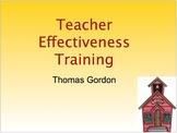 Teacher Effectiveness Training: Introduction to Developing a Discipline Plan