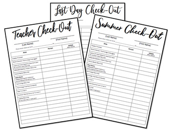 Teacher End-of-Year Check-Out List