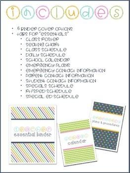 Teacher Essential Binder Tabs