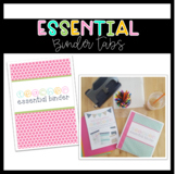 Teacher Essential Binder Tabs