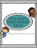 Teacher Essentials: 2018-2019 Planner, Organizer, Gradebook (Black and White)