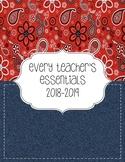 Teacher Essentials: 2018-2019 Planner, Organizer, Gradebook (Red and Denim/Navy)
