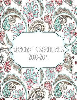 2016-2017 Teacher Essentials:Planner/Organizer/Gradebook (Gray, Teal, Melon)