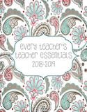 2018-2019 Teacher Essentials:Planner/Organizer/Gradebook (Gray, Teal, Melon)
