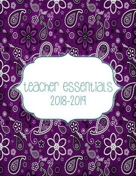 Teacher Essentials: 2017-18 Planner, Organizer, Gradebook (blue/purple/teal)