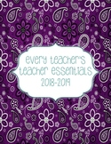 Teacher Essentials: 2018-2019 Planner, Organizer, Gradebook (blue/purple/teal)