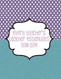 Teacher Essentials: 2017-2018 Planner/Organizer/Gradebook (Purple/Teal/Pink)