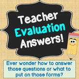 Teacher Evaluation Questions with Answers (Teacher Observation Help!)