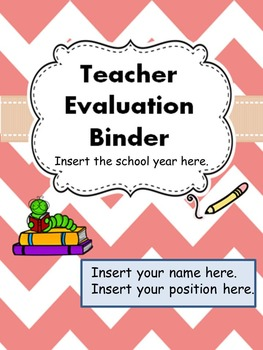 Teacher Evaluation Evidence Portfolio Binder EDITABLE Pink Chevron