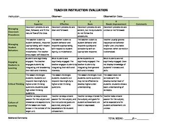 Teacher Evaluation Rubric