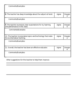 Teacher Evaluation Student Survey