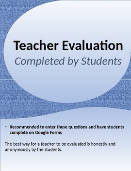 Teacher Evaluation (completed by each student)