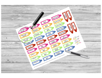 Teacher Event Crayon Stickers PRINTABLE
