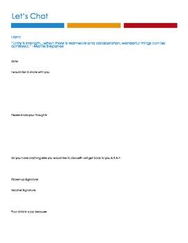 Teacher & Family Communication Note