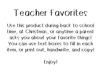 Teacher Favorites