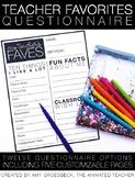 Teacher Favorites Questionnaire