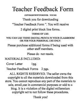 Teacher Feedback Form For Teachers
