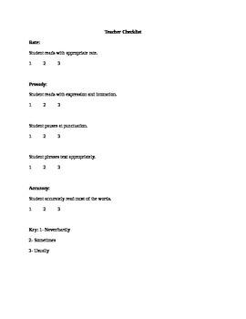 Teacher Fluency Checklist