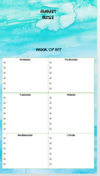 Teacher Focus Book & Organizer including Weekly Checklists