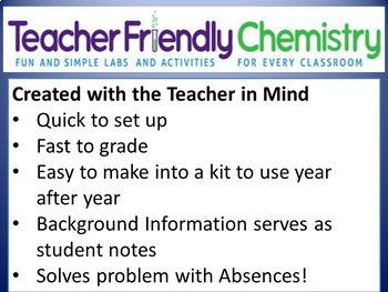 Growing Chemistry Lab Bundle: 31 Labs 17 Inq. PDF/Word Ans. Keys, Lab Quiz