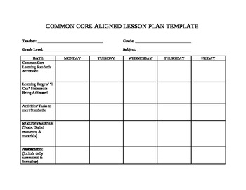 Teacher friendly common core lesson plan template by for Free lesson plan template word