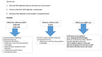 Teacher Friendly ELPS (TEXAS) reference.guide