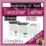 Teacher Get to Know You Letter - Beginning of Year - Editable