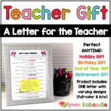 Teacher Gift: A Letter for the Teacher