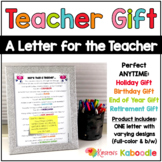 Teacher Gift: A Letter for the Teacher