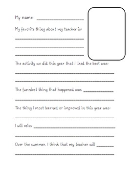 Teacher Gift End of the Year Memory Book for teacher by students