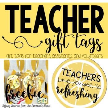 Teacher Gift Tags FREEBIE: Lemonade Edition