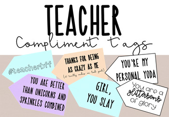 Teacher Gifts Compliment Tags