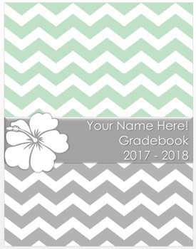 Teacher Grade Book Chevron Hibiscus (Editable)