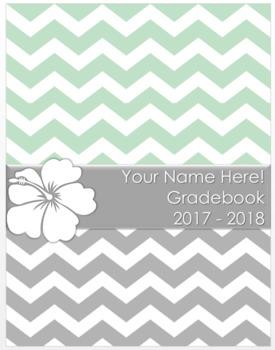 Teacher Grade Book Chevron Hibiscus (Editable)