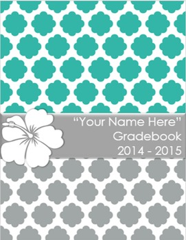 Teacher Grade Book Quatrefoil Hibiscus (Editable)